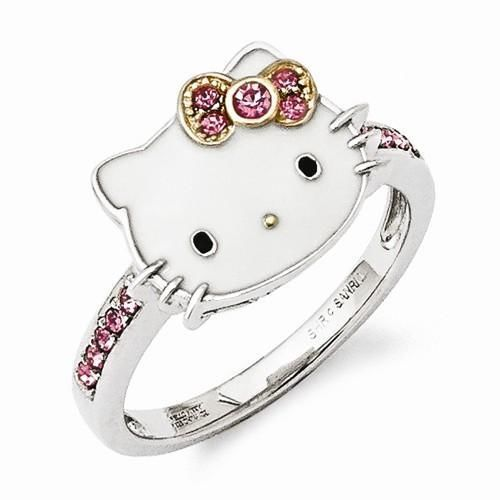 cf216bfb4 NEW HELLO KITTY CRYSTAL COLLECTION STERLING SILVER 925 RING SIZE 8 PINK  CRYSTAL #HelloKitty