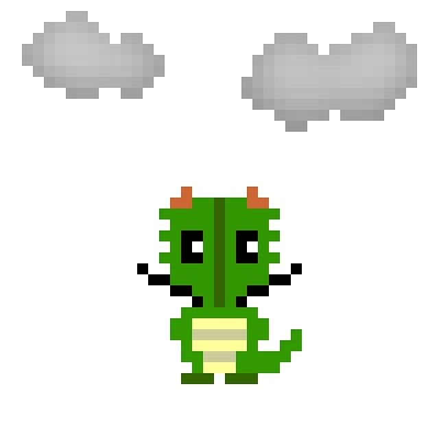 天気実況大阪曇り #pixelart #dragon #weather #osaka #ドット絵 #ドラゴン #天気 #大阪