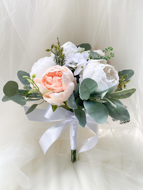 Boho wedding bouquet peonies with eucalyptus bridal bouquet | Etsy