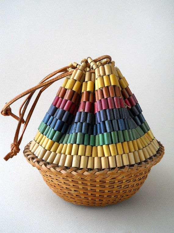Vintage wooden bead basket purse on Etsy. $48.00