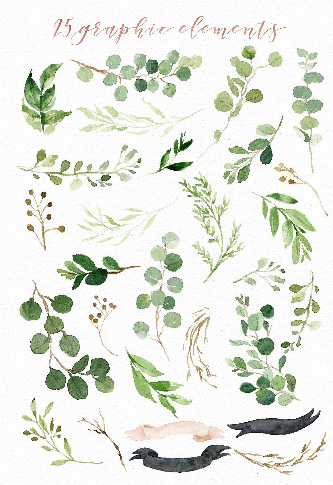 Watercolor green leaf clip art by graphic box on for Watercolor greenery