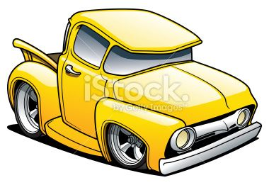 Yellow Cartoon Classic Truck Created In Adobe Illustrator