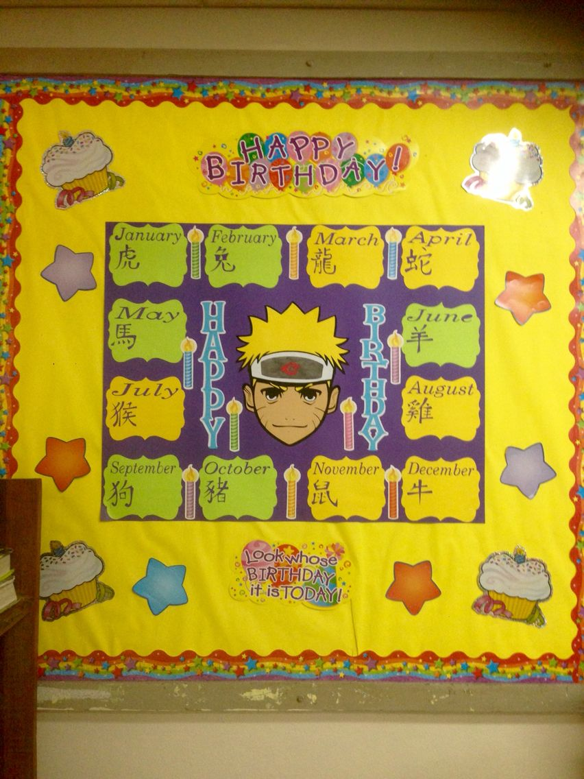 Anime Theme Birthday Bulletin Board Naruto Did This For