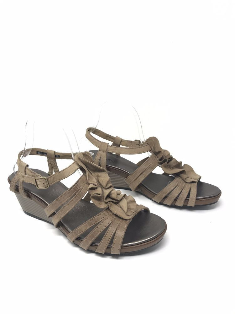 1084a8ee5cad CLARKS Bendables Wedge Heel Sandals Multi Strap Shoes With Ruffles Size 10W  Tan