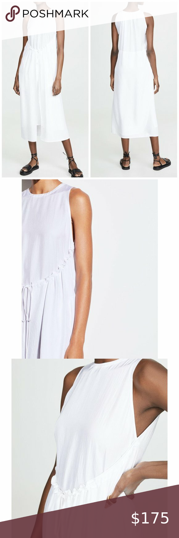 Nwt Vince Shirred Drawstring Dress In Optic White Brand New With Tags Vince Shirred Drawstring Sleev Drawstring Dresses Midi Dress Sleeveless Twist Front Dress [ 1740 x 580 Pixel ]