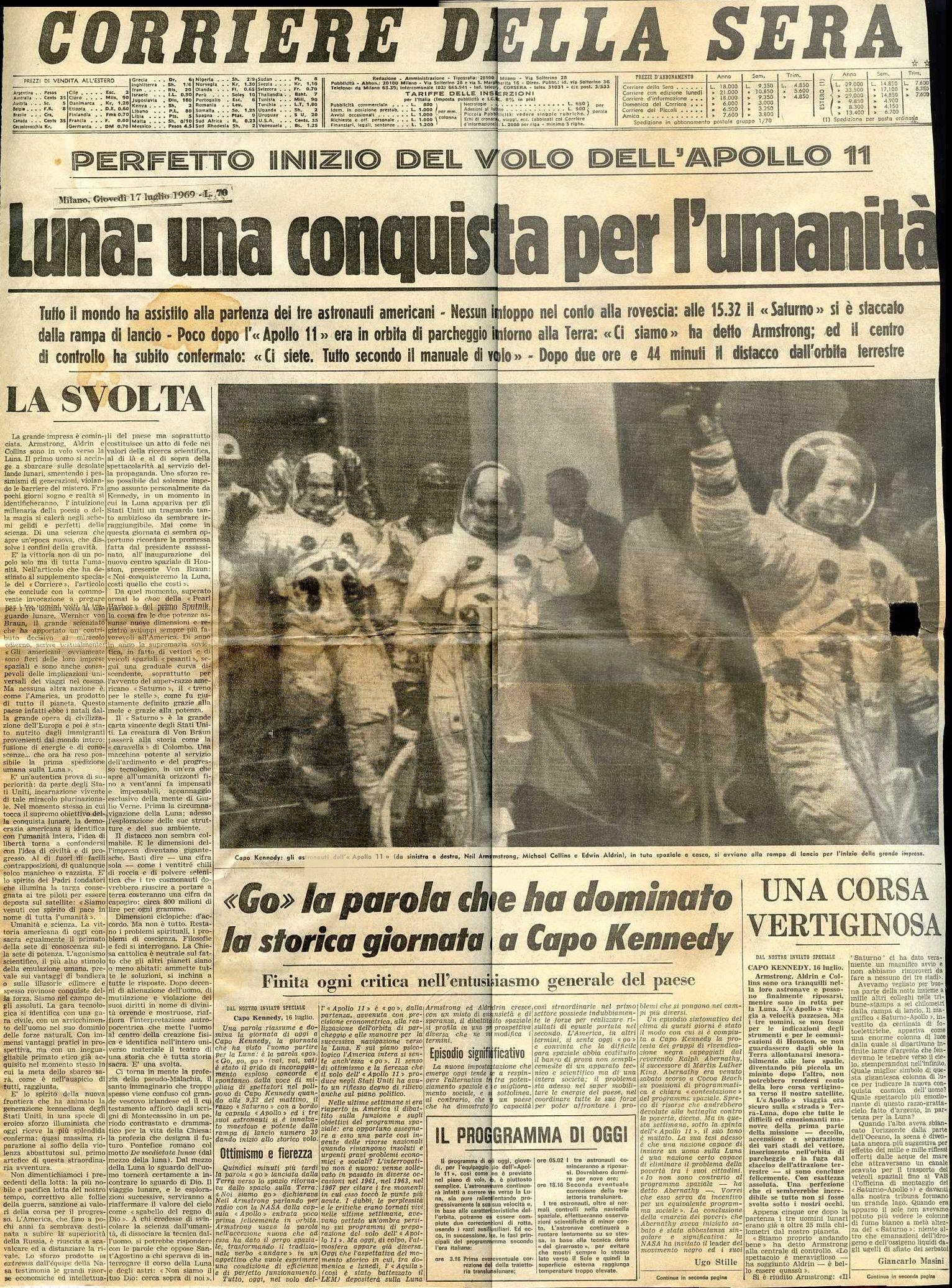 Corriere Della Sera 17 Luglio 1969 Storia Contemporanea Storia Dell Uomo Immagini Storiche