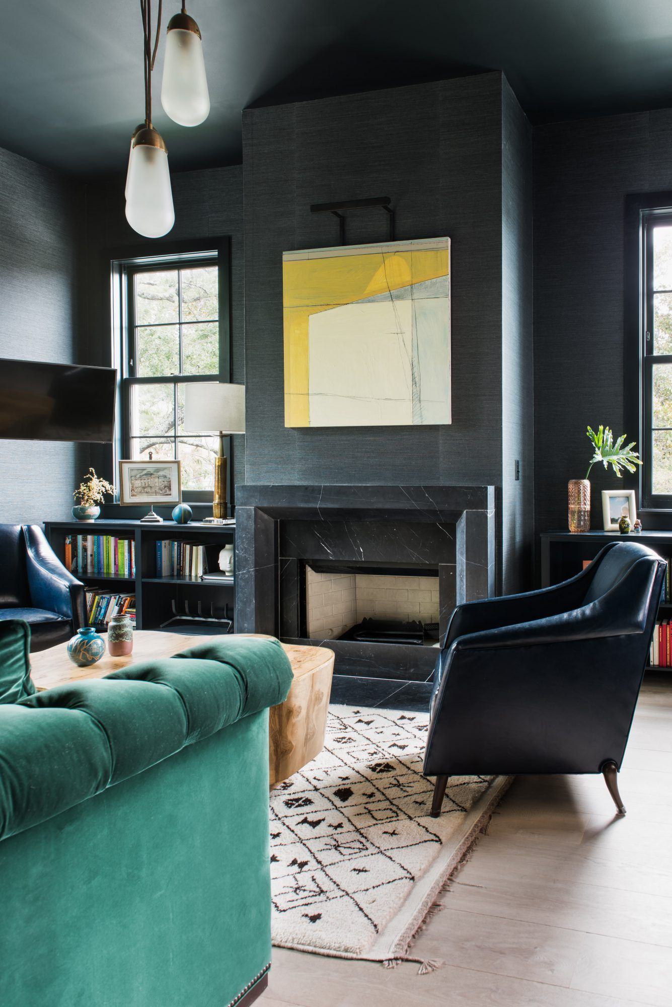 Best Interior Design Of Living Room: Moody Living Room Space With Pops Of Color. Design By