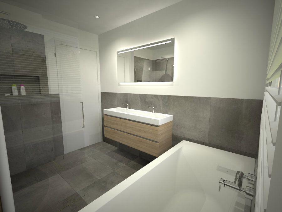 Badkamer ontwerp met ligbad onder het grote raam zwevend