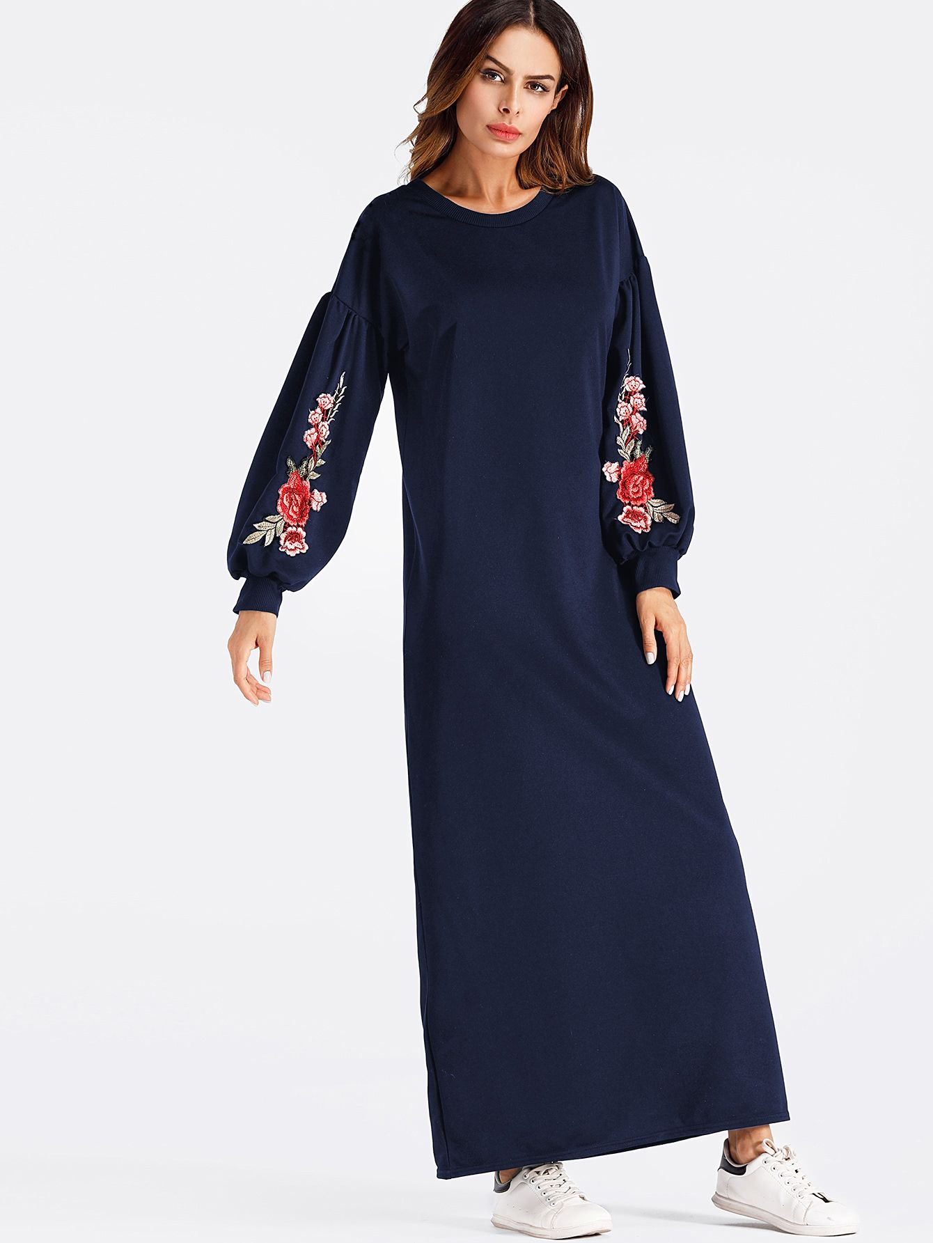 56d2d4cd75b6 Balloon Sleeve Embroidered Applique Dress -SheIn(Sheinside) | Abaya ...