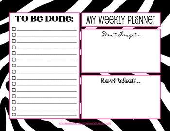 Get Pink & Black Weekly Planner Design