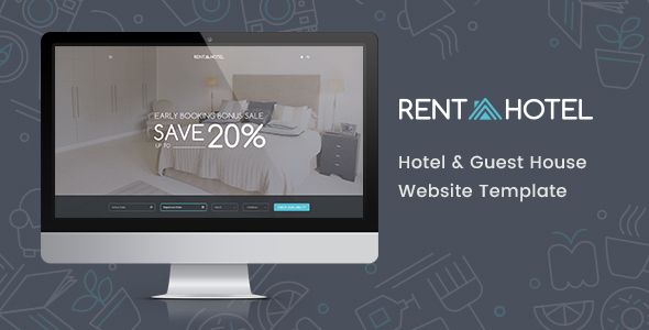 Rent a Hotel - Hostel \ Guest House Booking Website PSD Template - house for rent template