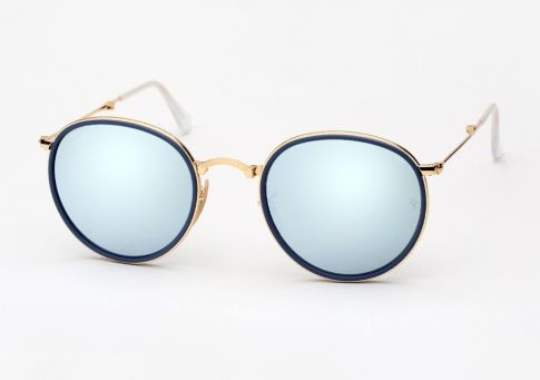 a71fe67440 Ray Ban RB 3517 Round Metal Folding - Gold w  Silver Mirror