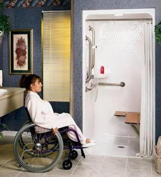 ADA-Excellent example of a roll in shower with bench and grab bars ...