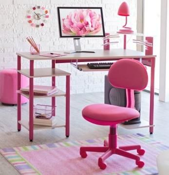 Pink Computer Station What Fun To Work Here Pink Desk Chair Kids Computer Desk Kids Desk Chair