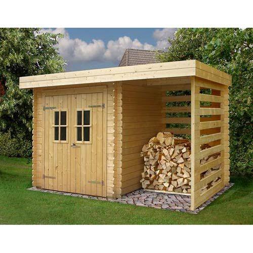 Abri de jardin en bois 5,29m² + plancher + bûcher - madriers 19mm - construire une cabane de jardin en bois