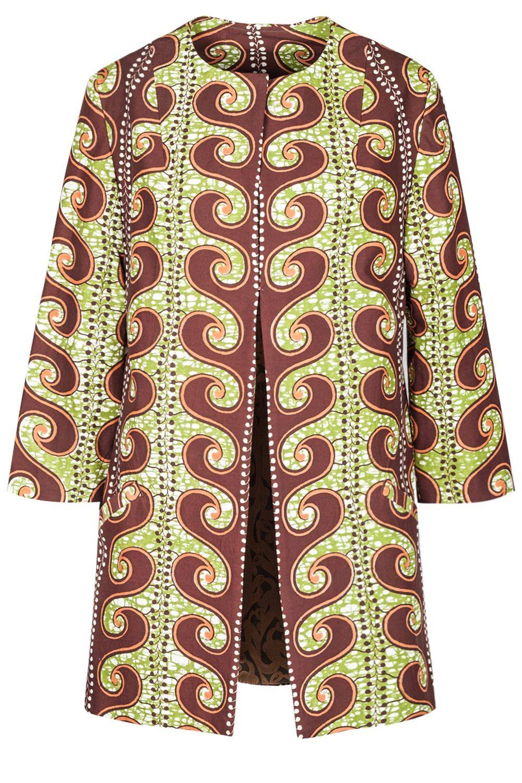 noh nee coat in african waves print  ausgefallene