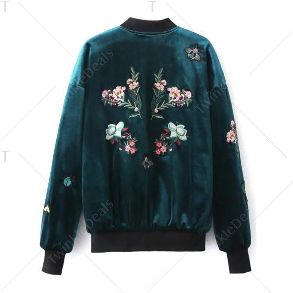 Embroidered Velvet Bomber Jacket (100.000 COP) ❤ liked on Polyvore featuring outerwear, jackets, flight jacket, blue jackets, bomber jacket, velvet jacket and embroidered bomber jackets