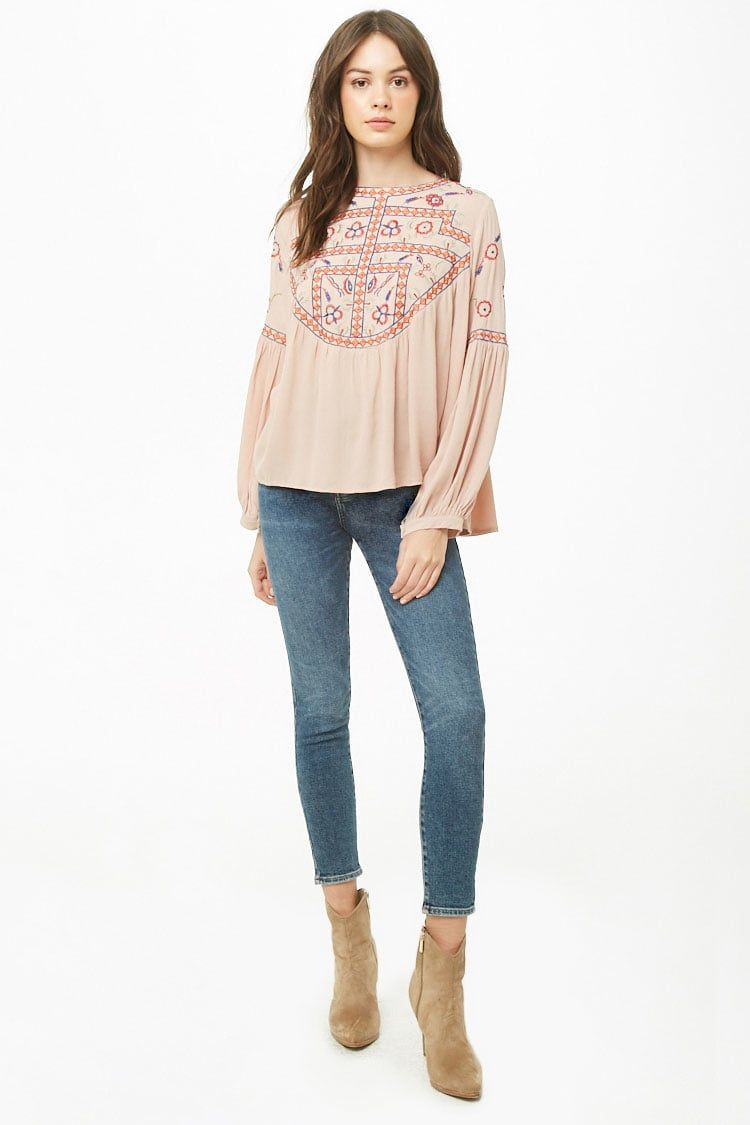 bd049d0f3bb Geo Floral Embroidered Top