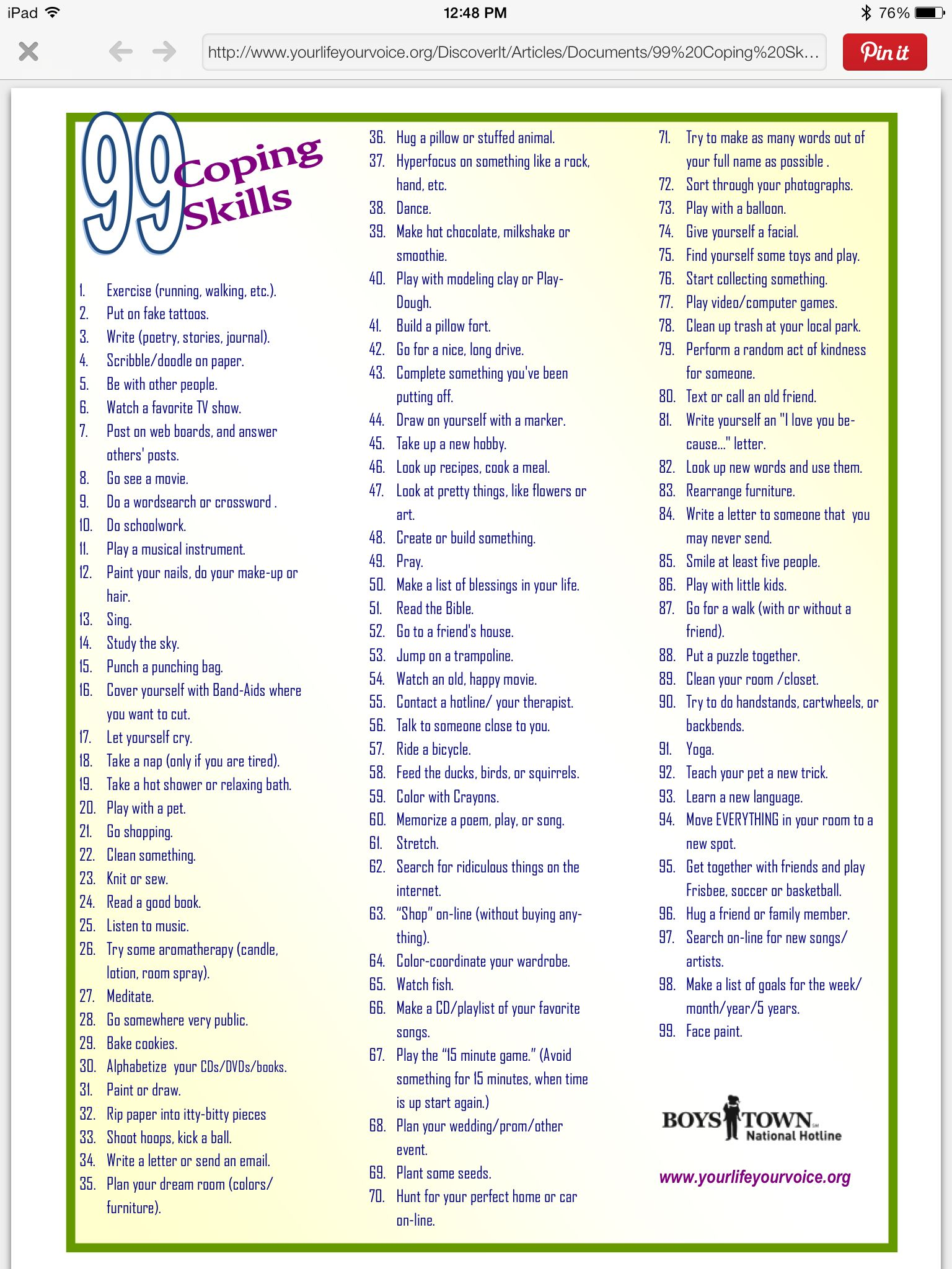 Worksheets Positive Coping Skills Worksheets boys town list of 99 distractions ways to cope with stress stress