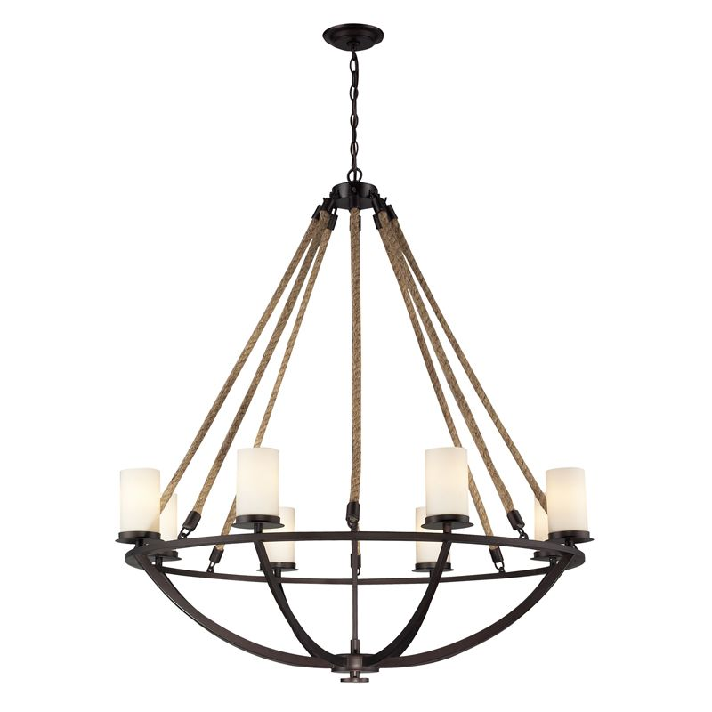 Elk lighting 63043 8 natural rope 8 light chandelier in aged bronze