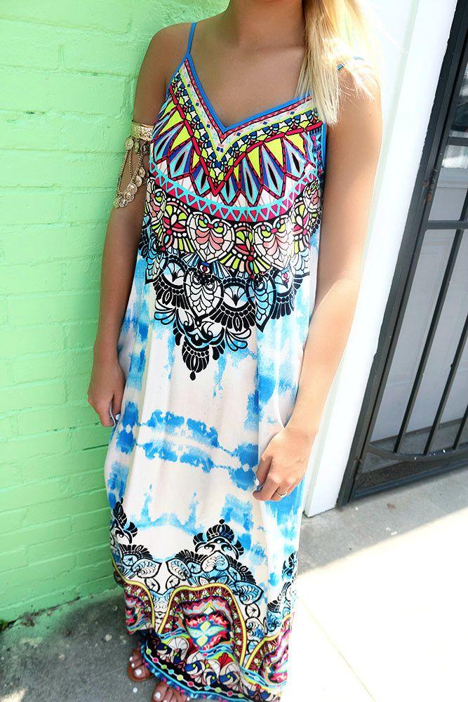 Reggae Beauty Tie Dye Gypsy Print Multi Color Maxi Dress