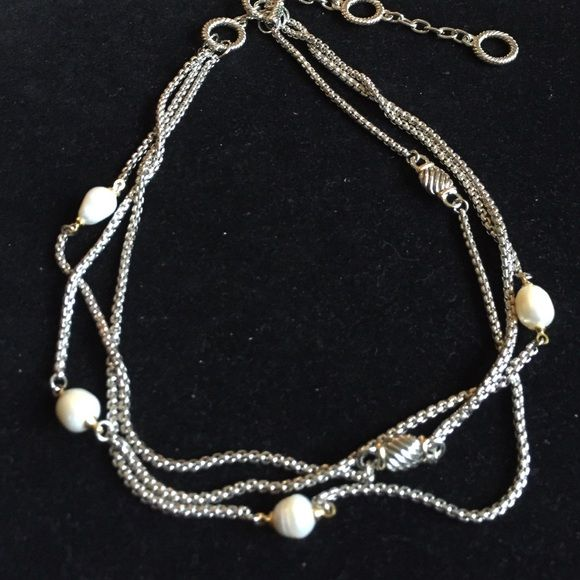 SALESilver & Gold colored necklace faux pearls Never worn - adjustable length necklace. Silver and gold colored chain. Great looking !! Boutique Jewelry Necklaces