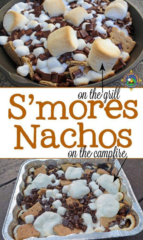 Campfire S'mores Nachos #grilleddesserts