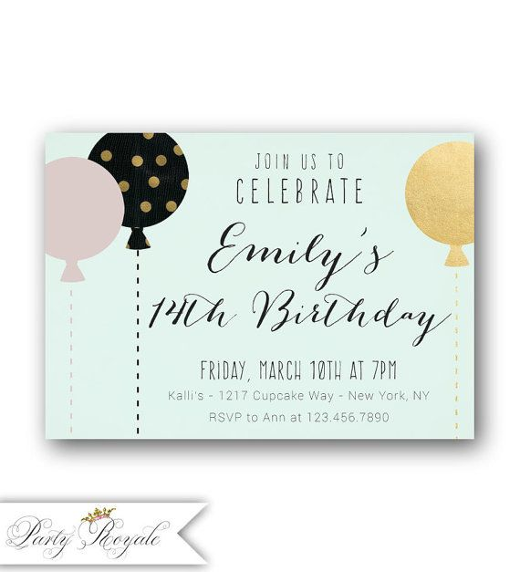 Girls 14th Birthday invitations Pastel 14th Birthday Teen