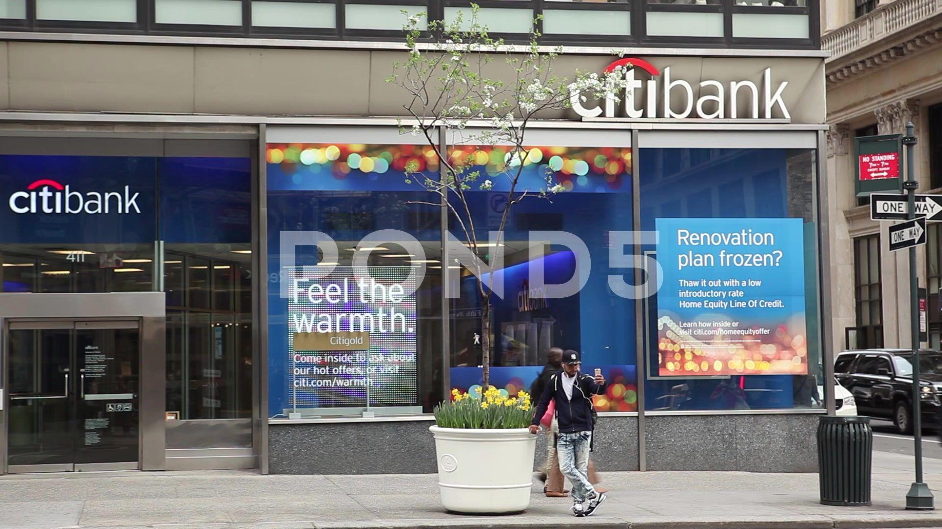 Citibank branch new york city stock footage ad york