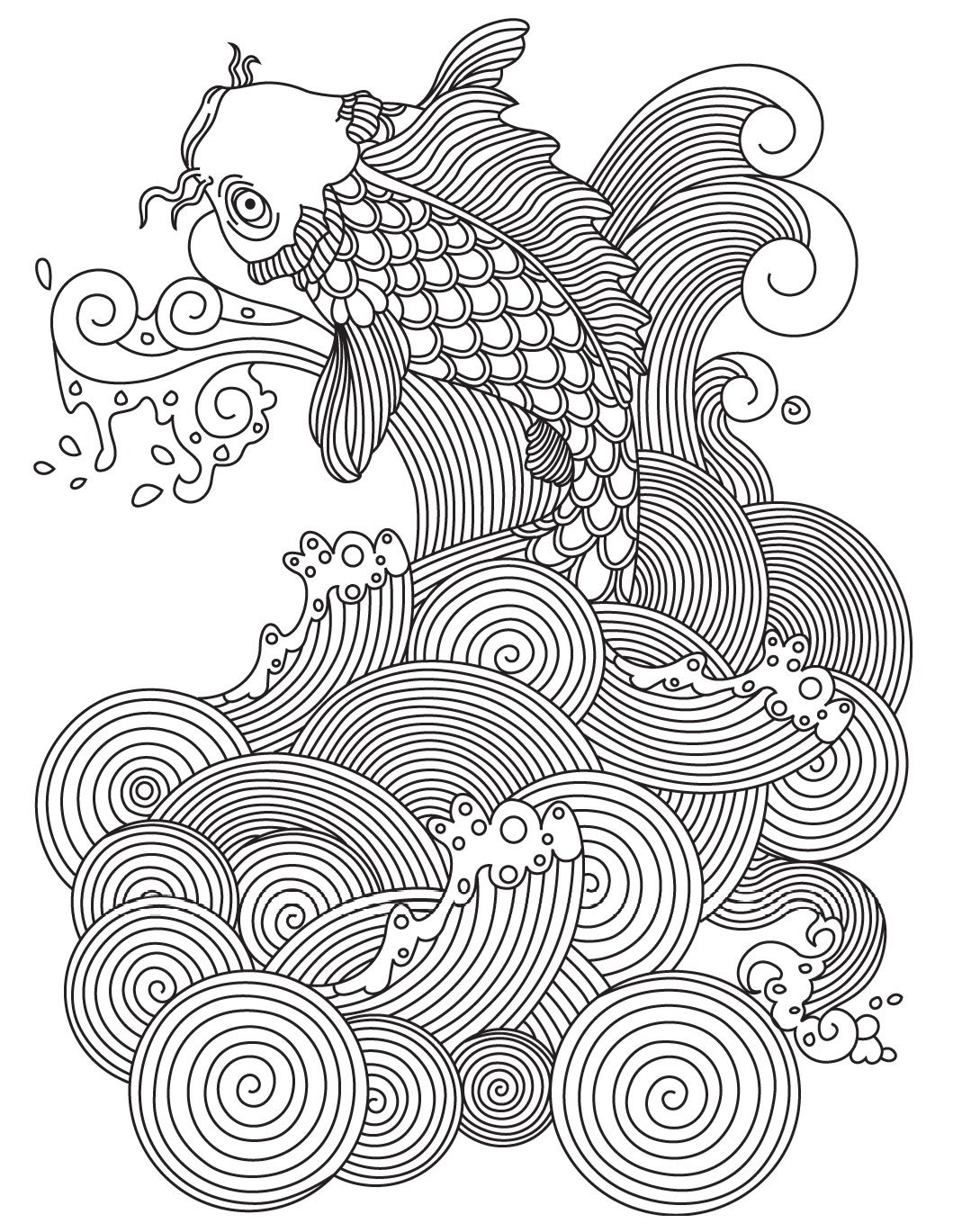 Carp Colorish Coloring Book For Adults Mandala Relax By Goodsofttech Fish Coloring Page Lion Coloring Pages Coloring Pages