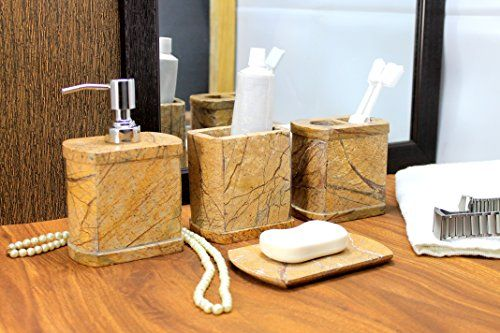 Kleo Bathroom Accessory Set Made From Natural Brown Stone Bath