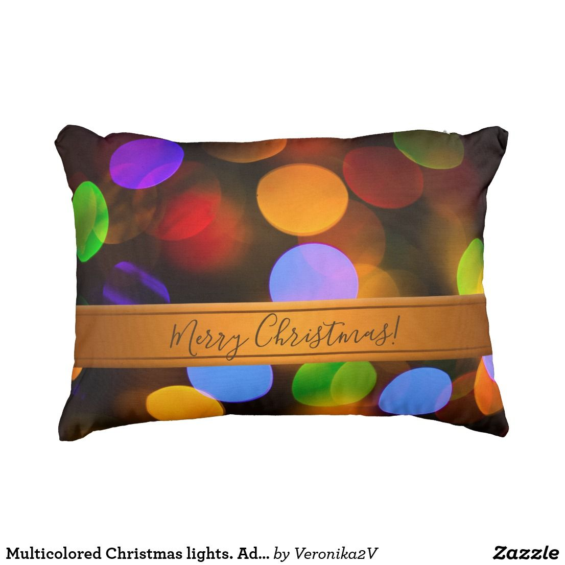 Multicolored christmas lights add text or name outdoor pillow