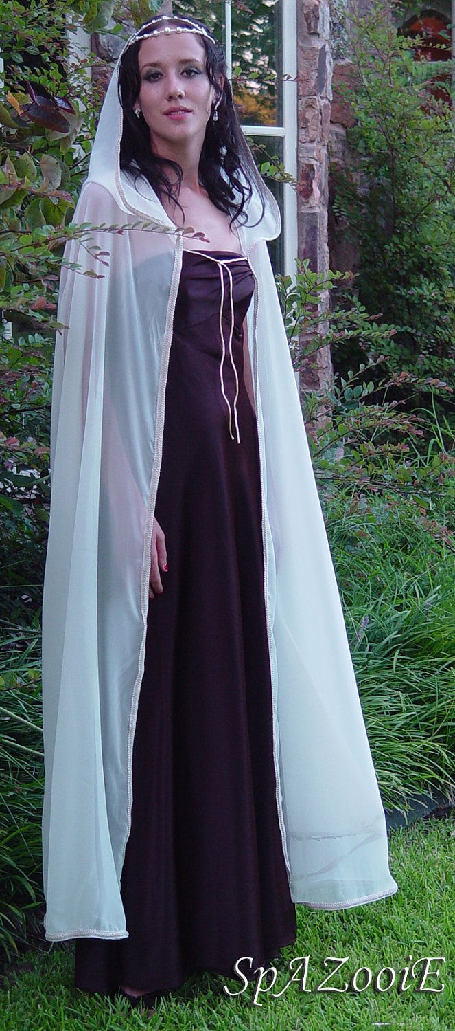 Chiffon Wedding Cloak Bridal Renaissance Medieval Hooded