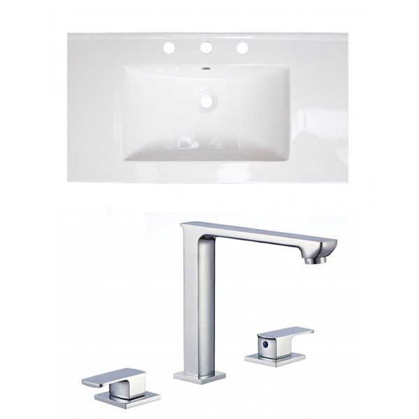 American Imaginations Flair 36 75 X 22 5 In White Ceramic Widespread Vanity Top Set Chrome