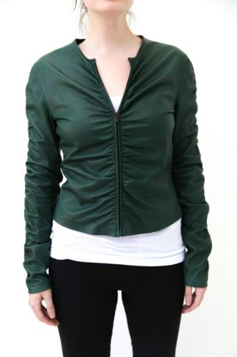 Gucci-Vintage-Forest-Green-Womens-Leather-Jacket-Size-44