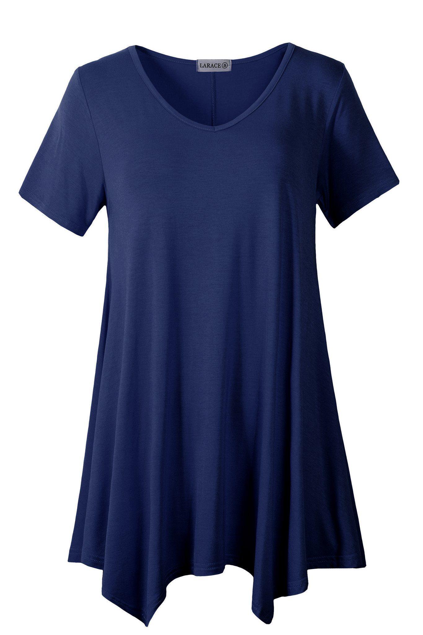 4399d15d LARACE women casual T-shirt V-neck tunic tops for leggings Short Sleeve  Tunic