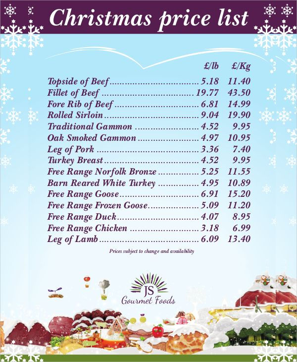 christmas price list template   christmas list template