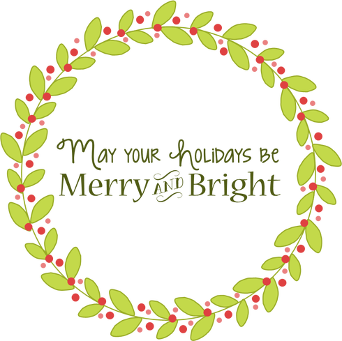 Merry and Bright Christmas Card Clip art Best merry