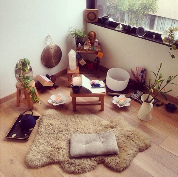 This fuzzy lambskin rug and crystal-filled corner: