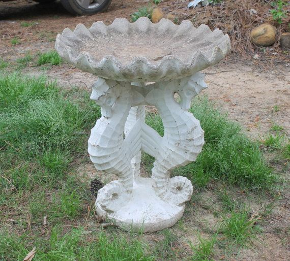 Vintage Garden Statue Seahorse Birdbath Outdoor By Tattedpicker 250 00 Garden Statues Bird Bath Vintage Garden