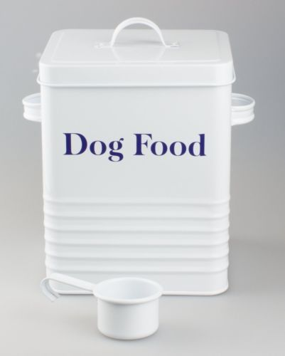 Vintage Style White Dog Food Tin Box Container For Dy Food Pouches