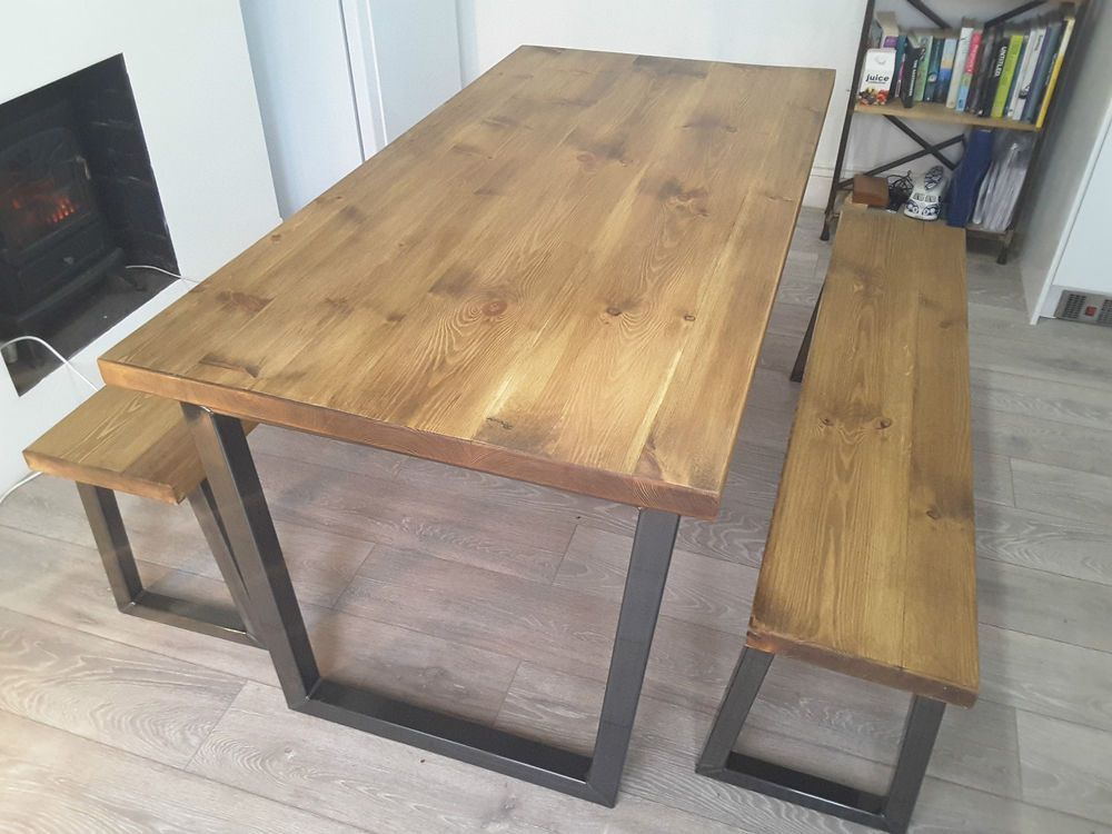Rustic Reclaimed Wood Dining Table Metal U Frame Various Size Uk Made