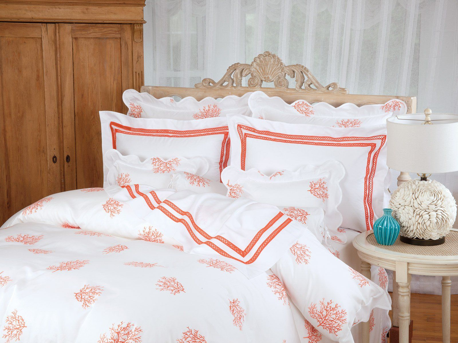 Coral Del Mar. A classic memento of treasured moments on a romantic isle brings the feeling home to you in this beautiful Coral print. #SchweitzerLinenPin2Win