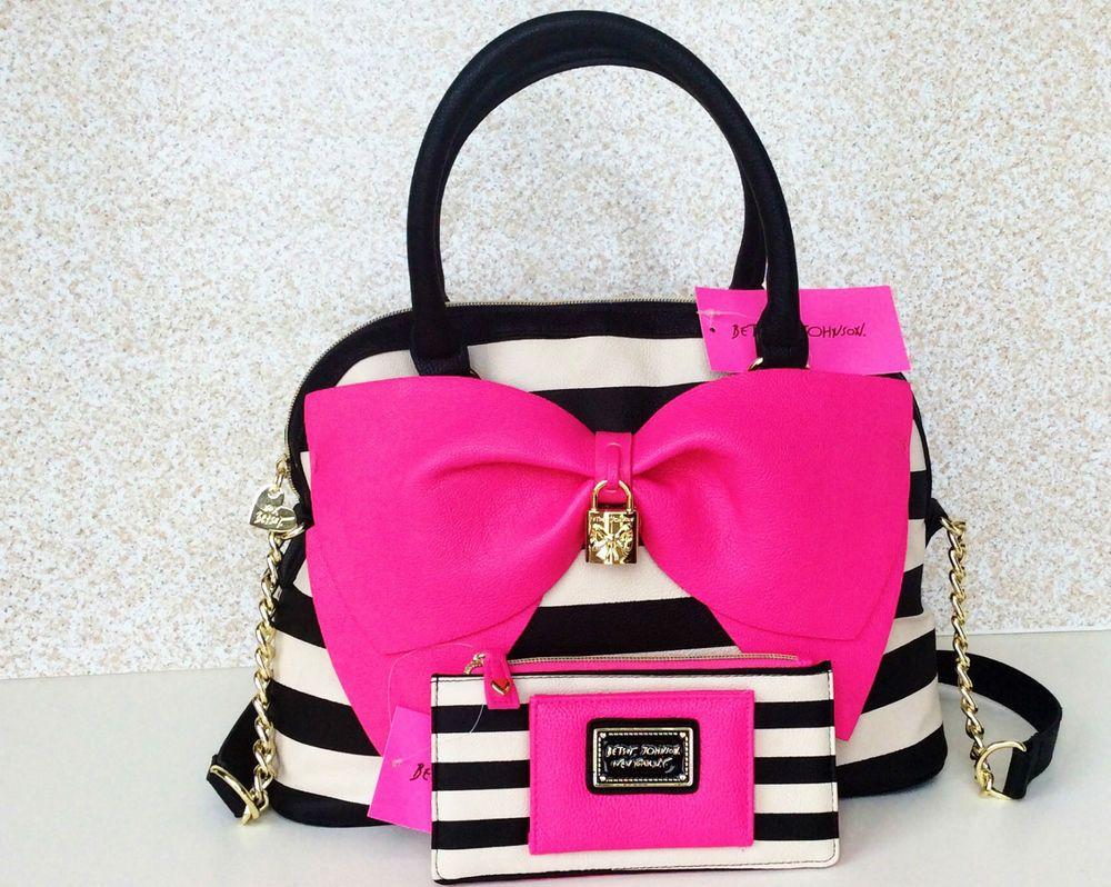 Nwt Betsey Johnson Black White Candy Stripe Handbag Tote