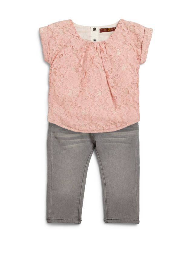 03fa5a2e85164c 7 For All ManKind Baby Girl Pink Lace Top with Gray Jeans