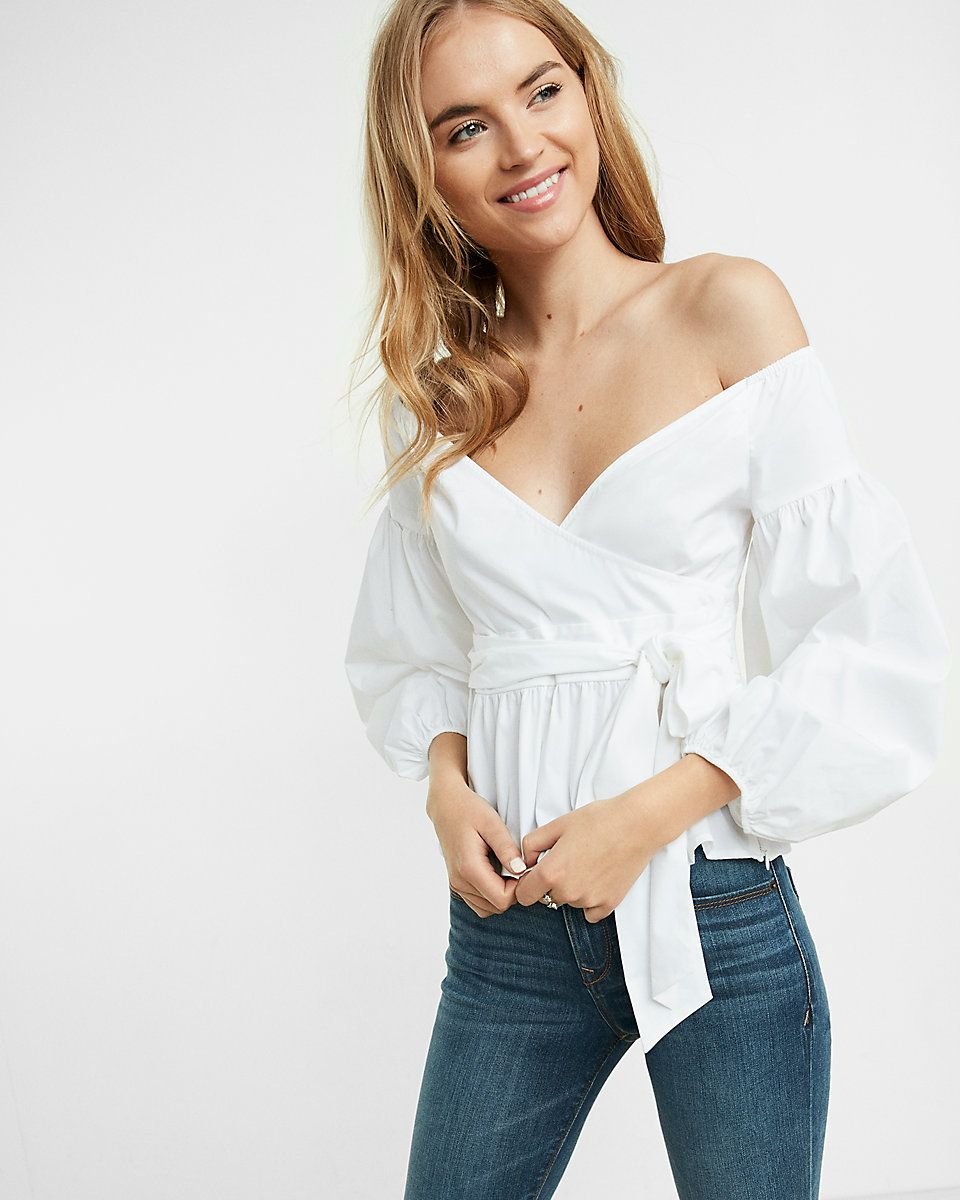 359201b77b4 Off The Shoulder Puff Sleeve Surplice Blouse | Express | EXPRESS ...
