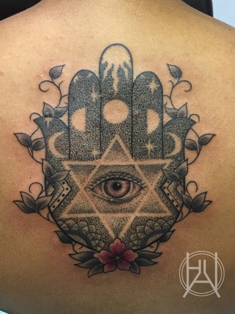 Awesome Hamsa Eye With Star David Tattoo On Upper Back