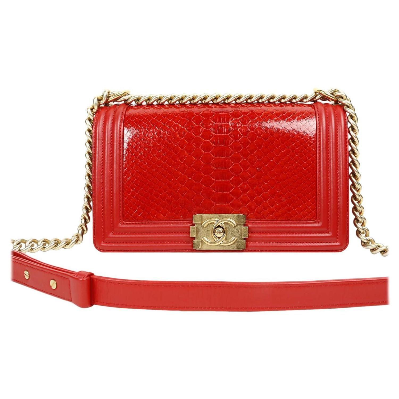 ae8994b4054449 Chanel Red Python Medium Boy Bag | My 1stdibs Favorites | Bags ...