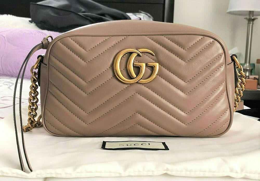d72831266d7 Authentic GUCCI GG MARMONT Matelasse Small Shoulder Bag Dusty Pink Nude EUC