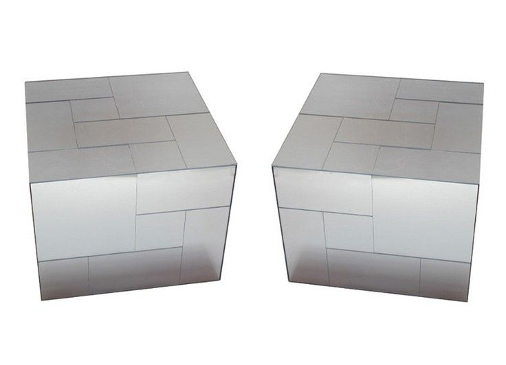 Pair Of Mirrored Acrylic Cube Side Tables Element Solid - Acrylic cube side table